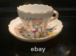 Rare Antique Meissen Hand Painted Yellow Tiger Demitasse Cup & Saucer
