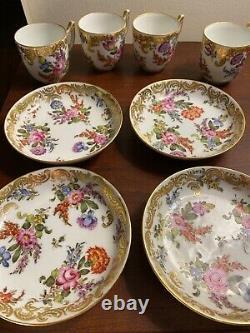 Rare Antique Meissen style Choisy-le-Roi Handpainted Demitasse cup & saucers