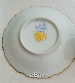 Rare Beautiful Dresden Ambrosius Lamm Elaborate Lobed Gilt Demitasse Cup Saucer