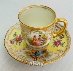 Rare Dresden Ambrosius Lamm Yellow Florals & Courting Gilt Demitasse Cup Saucer