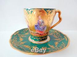 Rare Dresden Demitasse Cup Saucer Green Gilding 6 Unique Panels Raised Scroll HP