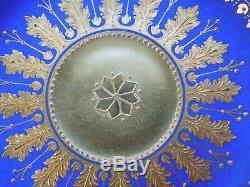 Rare Dresden Demitasse Cup Saucer Royal Blue Raised Acanthus Gilding Perls Jewel