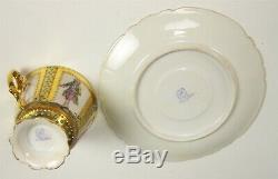 Rare Dresden Hand Painted Portraits Gold Turquoise Jewels Demitasse Cup & Saucer