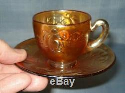 Rare Fenton'kittens' Pattern Carnival Glass Demitasse Cup/saucer Set. Pristine