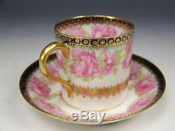Rare Haviland President Drop Rose Demitasse Cup & Saucer Set