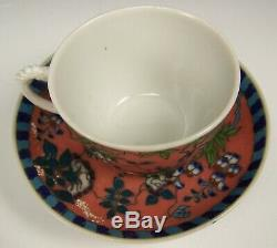Rare Japanese Silver Wire Cloisonné On Porcelain Demitasse Cup & Saucer Signed