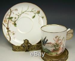 Rare Limoges Hand Painted Sunset Bird Gold Demitasse Cup Saucer Butterfly Handle