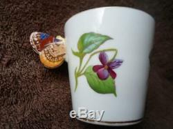 Rare Minton Violets Butterfly Handle Demitasse Trio Cup Saucer Plate c. 1869-1883