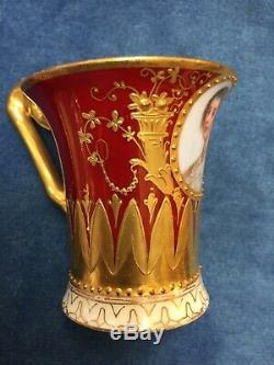 Rare Portrait Queen Henriette Marie Dresden Demitasse Cup & Saucer Antique