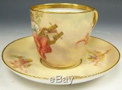 Rare Royal Vienna Handpainted Poesie Cupids Maiden Demitasse Cup Saucer S. Heer
