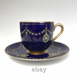 Rare Royal Worcester demitasse cup & saucer. Jeweled Beaded. C1911. Blue & Gold