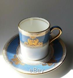 Rare Set 6 Wedgewood Columbia Powder Blue Rim Demitasse Cup And Saucers