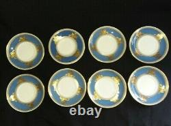Rare Set 8 Wedgwood Columbia Powder Blue Rim Demitasse Cup And Saucers