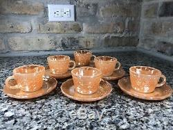 Rare Set Of 6 Fish Scale Peach Lustre Demitasse Cups and Saucers Fire King