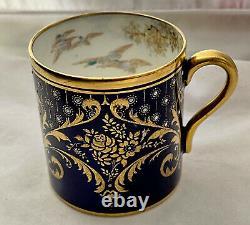 Rare Shelley Cobalt Blue Miniature Demitasse Cup & Saucer Gold Geese Ducks Fowl