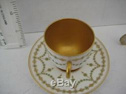 Rare Vintage Royal Worcester Beautiful Demitasse Jewelled Cabinet Cup Saucer