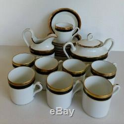 Ricard Ginori PALERMO BLACK GOLD 8 Demitasse Expresso Cups Saucer Creamer &Sugar
