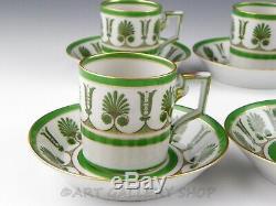 Richard Ginori Italy ERCOLANO GREEN DEMITASSE CUPS AND SAUCERS Set of 6
