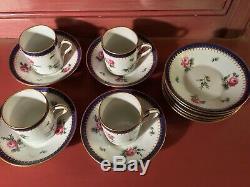 Richard Ginori Principessa Rosa Espresso Demitasse Cup & Saucers (4) Ex. Saucers