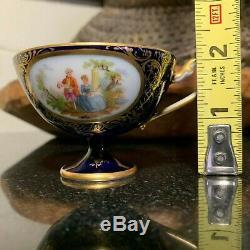 Richard Klemm Courting Couple Cobalt & Gold 2 1/8 Pedestal Demitasse Cup Saucer