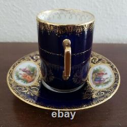 Richard Klemm Dresden Demitasse Cup & Saucer Courting Couple Cobalt Blue Gold