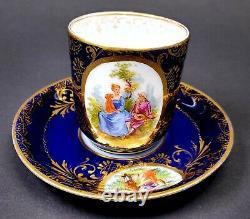 Richard Klemm Dresden Hand Painted Courting Couple Cobalt & Gold Demitasse CupB
