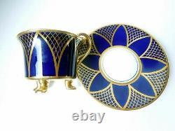 Rosenthal Art Deco Cup Saucer Demitasse Paw Feet Fragonard Handle Cobalt Gilded