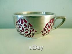 Rosenthal Art Deco Cup Saucer Silver Overlay Demitasse Selb Bavaria Burgundy VTG