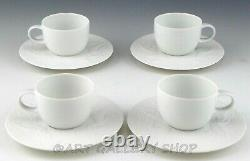 Rosenthal Bjorn Wiinblad MAGIC FLUTE WHITE DEMITASSE CUPS AND SAUCERS Set 4 Mint