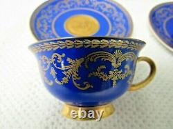 Rosenthal Cobalt Or Royal Blue & Gold Demitasse Cup Saucer Set 24 Pc