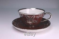 Rosenthal Silver Overlay Deep Red Demitasse Cup and Saucer Set B