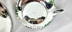 Rosenthal sterling silver overlay green porcelain demitasse cup saucer porcelain