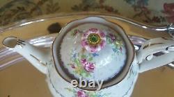 Royal Albert Pattern Bone China Set 6 Demitasse Cups & Saucers, Teapot & Crm/Sug