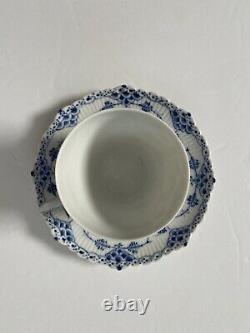 Royal Copenhagen Blue Fluted Full Lace Demitasse Cup & Saucer Set