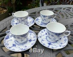 Royal Copenhagen Fluted Blue Set of 4 Demitasse Cups Saucers