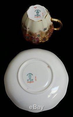 Royal Crown Derby Gilt Jewels Enamel Demitasse Cup & Saucer Set