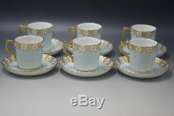 Royal Crown Derby Heraldic Gold Blue And White 6 Coffee Cups Saucers Demitasse