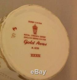Royal Crown Derby Porcelain Demitasse Cup and Saucer GOLD AVES