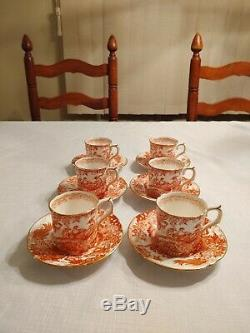 Royal Crown Derby Red Aves Set of 6 Demitasse Cups & Saucers