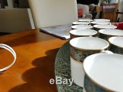 Royal Doulton CARLYLE 12 Demitasse coffee Cups & 12 Saucers teal #H5018 MINT