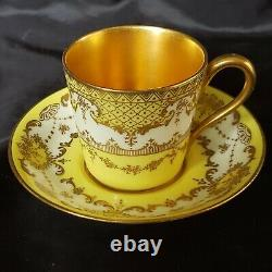 Royal Doulton Heavy Gold Encrusted Demitasse Cup& Saucer Sets Gold&yellow