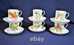 Royal Tuscan Audubon Birds Demitasse 6 Cup & Saucers Fine Bone China Vintage