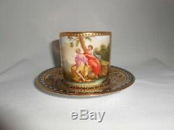 Royal Vienna Porcelain Antique Demitasse Cup and Saucer Beehive Artist Signed