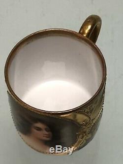 Royal Vienna Portrait Demitasse Cup & Saucer ODALISQUE, Depose signed WAGNER