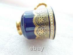 Royal Worcester Demitasse Cup NO Saucer Cobalt Gold Jewels Lace Antique Harrods