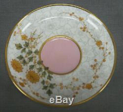 Royal Worcester Gold Floral Grey Chintz & Pink Demitasse Cup & Saucer Circa 1879