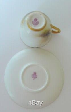 Royal Worcester HIGHLAND CATTLE Demitasse Cup & Saucer Signed STINTON AS-IS
