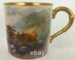 Royal Worcester Highland Cattle Demitasse cup & saucer Harry Stinton signature