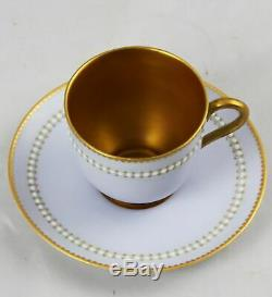 Royal Worcester Jeweled Demitasse Cup & Saucer Blue-Grey W8913 Star One Dot
