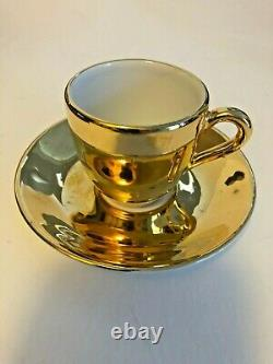 Royal Worcester LUSTRE Gold DISCONTINUED (6) Demitasse Cups and Saucers in box